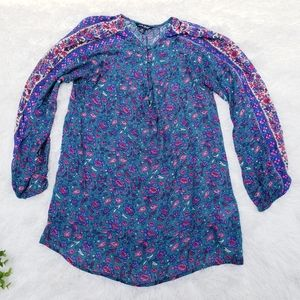 🔴4/$25 Lucky Brand blue green Floral Blouse